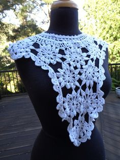 Elegant Handmade Cotton Neckline Embellishment Applique Antique Style Applique Crochet Lace White Lace S115