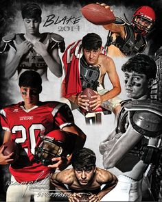 Awesome composite using various portraits from his sportraits session. Sports collage, football collage.