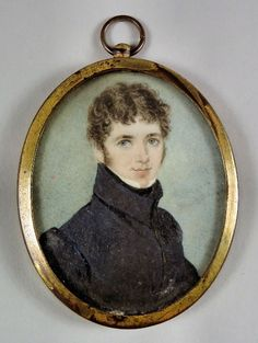 Early 19th Century English School - Miniature painting on ivory - Shoulder length portrait of a young gentleman wearing a dark blue coat with high collar, oval on ivory 2.5ins x 2ins, in gilt metal frame and glazed