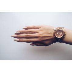 Oval nude nails with small diamond. My spring mood haha