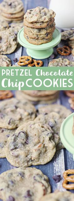 Pretzel chocolate chip cookies are soft, chewy, and chocolaty with the right amount of crunch! The combination of crunchy, salty, sweet is simply irresistible! | halfscratched.com #cookies #recipe #dessert #pretzel