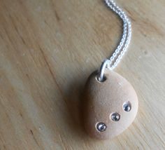 Beach Stone Jewelry  Pebble Necklace  TRE DOLCI by SeaFindDesigns, $25.00