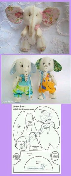 elephant pattern so cute Fabric Animals, Sock Animals, Sewing Toys, Baby Sewing, Sock Dolls, Elephant Pattern, Fabric Toys, Stuffed Animal Patterns, Stuffed Animals
