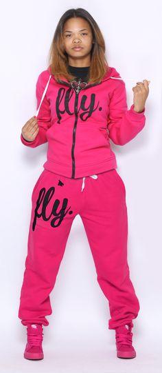 FLY. PINK Hoodie/PINK Pants Sweatsuit ZIP-UP (UNISEX FIT)