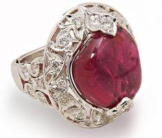 Elegant Top Quality RUBELLITE PINK TOURMALINE Diamond Cabochon Ladies Ring In 18K Carved Gold