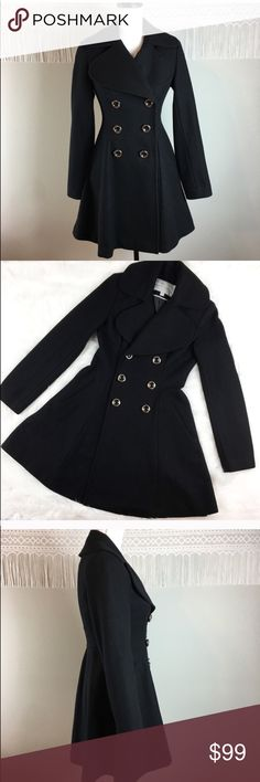 Jessica Simpson Double Breasted Flare Pea Coat Jessica Simpson Double Breasted Fit & Flare Pea Coat. Size extra small. Approximate measurements flat laid are 34' long, 24' sleeves, 24' hips, and 16' bust. Pre-owned condition with no major flaws. Beautiful and well made. ❌I do not Trade 🙅🏻 Or model💲 Posh Transactions ONLY Jessica Simpson Jackets & Coats Pea Coats