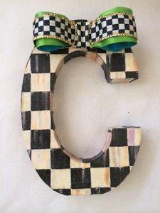 Mackenzie Childs Bow Ribbon My Decoupage Custom Courtly Check Letter | eBay