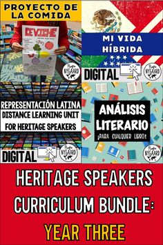 This is a bundle of all the materials I used in my third year of teaching a heritage speaker class.  I teach the same students for three years so I created a three-year curriculum cycle. The material isn't necessarily more difficult in year three. All heritage students are in the same course regardless of level and each year the new ninth graders join us.  #teachspanish #heritagecurriculum #yearthree High School Spanish, Spanish 1, Spanish Teacher, Spanish Classroom, How To Speak Spanish, Spanish Teaching Resources, Spanish Speaking Countries, Social Studies, Elementary Schools