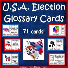 USA Elections: Illustrated Glossary Cards which explain the meanings of more than seventy of the most common U.S.A #election words and terms. $