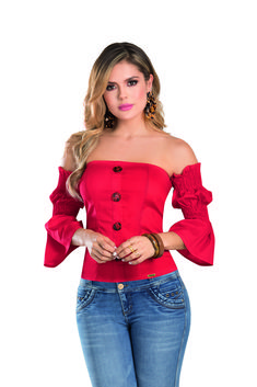 BLUSA SAHARA DEL CATALOGO DE ROPA TYT 06419 Off Shoulder Blouse, Women, Fashion, Silhouettes, Red, Feminine, Moda, Women's, La Mode