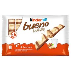 Delicious individually wrapped twin bars with a milk and hazelnut filling. An ideal lunchbox snack for work or school. 4 pack B&M. The post Kinder Bueno White appeared first on Kinder ideen. Cheap Chocolate, Triple Chocolate Cookies, Chocolate Explosion Cake, Sleepover Food, Coffee Shop Logo, Baby Pink Aesthetic, Fruit Decorations, Snacks For Work, Food Goals