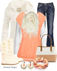 """""""Wearing Peach During the Winter"""" by amabiledesigns on Polyvore"""