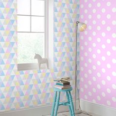 Graham & Brown Dotty White and Pink Removable Wallpaper Sample 10010194 - The Home Depot Wallpaper Samples, Print Wallpaper, Pastel Wallpaper, Home Wallpaper, Wallpaper Roll, Bedroom Wallpaper, Blue Grey Walls, Blue Gray Bedroom, Bedroom Colors