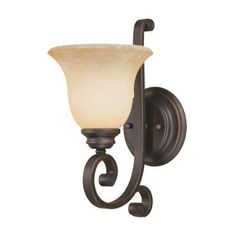 Millennium Lighting 1-Light Rubbed Bronze Sconce with Turinian Scavo Glass-1221-RBZ - The Home Depot