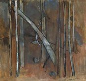 An image of Landscape with bent tree by Fred Williams Australian Painting, Australian Artists, Fred Williams, Landscaping Images, Arches Paper, Landscape Paintings, Landscapes, Gouache Painting, Watercolor Techniques
