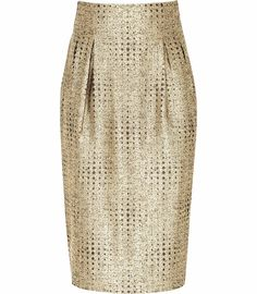 Reiss Bette inverted pleat pencil skirt in gold