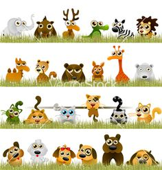 Cartoon animals vector on VectorStock®