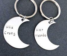His Crazy Her Weirdo Moon Keychains, Couples Keychains,Boyfriend Girlfriend Gift