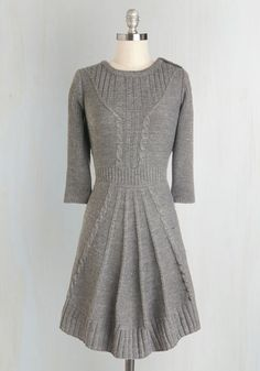 Warm Cider Dress. For a festive evening, complete with a crackling fireplace, joyful tunes, and hot cups of spiced apple cider, youve prepared yourself in this chic and cozy sweater dress! #grey #modcloth