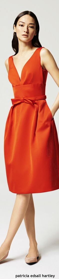 Escada Resort 2016 orange dress women fashion outfit clothing style apparel @roressclothes closet ideas