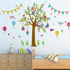 Bird Cages tree balloons wall stickers, Ireland's largest wall stickers and decals supplier, quick and easy to apply, free delivery anywhere in Ireland. Jungle Wall Stickers, Large Wall Stickers, Wall Decals, Balloon Wall, Balloons, Bird Cages, Kids Bedroom, Bedroom Wall, Wall Colors
