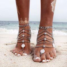 Oh so pretty!  Grace Bijoux Nishka Anklet – Silver | GypsyLovinLight