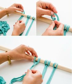 Macrame is IN, so now's the time to bust out your knot-tying skills.Macra-make a Gorgeous Macrame Wall Hanging - TutorialMake your own macrame wall hanging with this tutorial. T-shirt yarn, dowel, and scissors. -- from Brit.Make your own macrame wall ha Macrame Curtain, Beaded Door Curtains, Macrame Projects, Macrame Knots, Crafty Craft, Diy Projects To Try, Diy Art, Diy And Crafts, Weaving