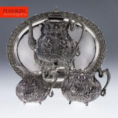 ANTIQUE 20thC SOUTHEAST ASIAN SOLID SILVER FIGURAL TEA SET & TRAY c1930.