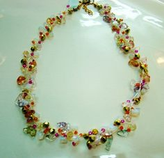Necklace beaded crystals beads on a cotton string by Bluenoemi, $90.00