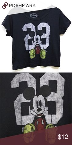 Black Mickey Mouse graphic tee Black Mickey Mouse graphic tee. Slightly cropped. Size medium. Disney Tops Tees - Short Sleeve