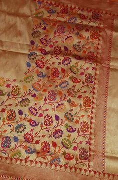 Golden Pure Handloom Banarasi Katan Silk Saree