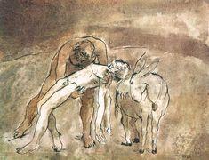 Borsos Miklós: Az irgalmas samaritánus, 1975, lavírozott tusrajz, magántulajdon