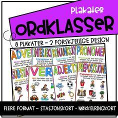 Ordklasser - plakater - Teaching Funtastic Book Of Shadows, Periodic Table, Teaching, Education, Books, Design, Grammar, Periodic Table Chart, Livros