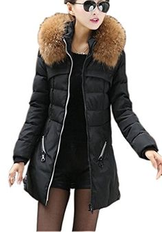 9692eddde800 Women Jacket Thicken Slim Fur Collar Long Plus Size (Black) (XXXL) Down