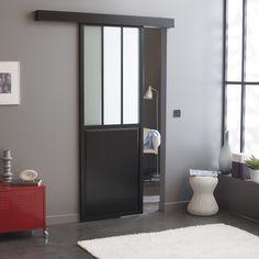 Porte coulissante alu noir foncé, verre trempé givré Atelier ARTENS, 204 x  83 cm 95c60edf7c2