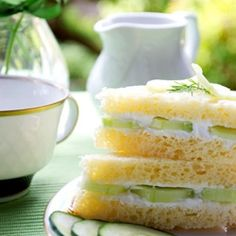 2 to 3 cucumber, pared & thinly sliced; 1 stick butter, softened; (8 oz) pkg. softened cream cheese; loaf of thin sliced white bread; Dill weed for garnish - Valentine's Day Tea Party