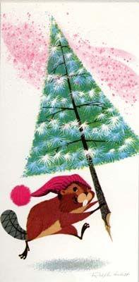 Christmas Beaver card, by Ralph Hulett