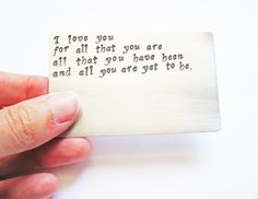 Hand Stamped Aluminum Wallet Insert Card Credit by RobertaValle, $9.99