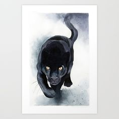 Overlaying washes technique in watercolor - black panther painting. Black Panther Drawing, Black Panther Tattoo, Black Cat Tattoos, Watercolor Kit, Watercolor Animals, Watercolor Illustration, Watercolor Paintings, Animal Paintings, Animal Drawings