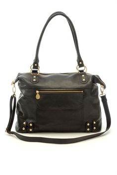 I think this is THE ONE:  Hudson Leather Diaper Bag in Black
