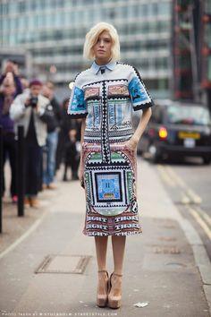 Elena Perminova wears SS13 Goal Crash Dress by Mary Katrantzou