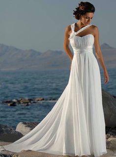 Perfect beach wedding dress. Simple, clean, light.