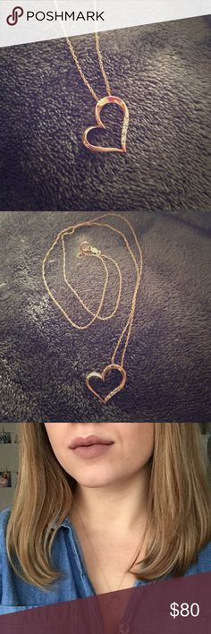 Gold heart necklace with diamonds. 10k yellow gold necklace with 3 diamonds . Thin, lightweight chain. From Kay jewelers. Kay Jewelers Jewelry Necklaces