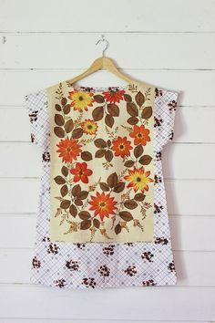 57e3420b17 Upcycled Linen Tea Towel Tunic Women Dress Textured by apieceofpie Reuse  Fabric