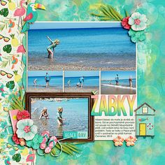 Digital layout using Flamingo Paradise by Amber Shaw at Sweet Shoppe Designs.