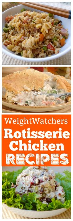 Favorite Weight Watchers Friendly Ways with Rotisserie Chicken - WW - Best Chicken Recipes Ww Recipes, Skinny Recipes, Healthy Chicken Recipes, Healthy Cooking, Healthy Eating, Cooking Recipes, Healthy Soup, What's Cooking, Healthy Dinners