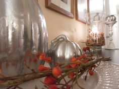 Silver Painted Pumpkins, Fall/Halloween Decor Ideas - Remodelaholic