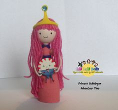 Princess Bubblegum and Peppermint butler Peg Doll from hit tv show Adventure time