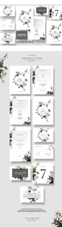 New ! Wedding Collection - Creative Template perfect to promote your Wedding Event !  The Download Package includes: Save the Date, Invitation, Menu Card, RSVP, Escort Card, Table Number and Thank You Card.