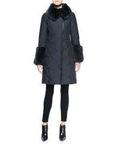 Rabbit Fur Trim Puffer Coat